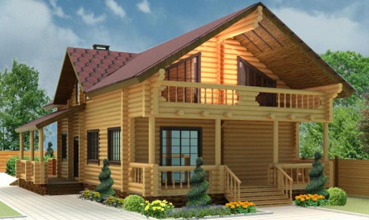 Дом из бревна с террасой и балконом.